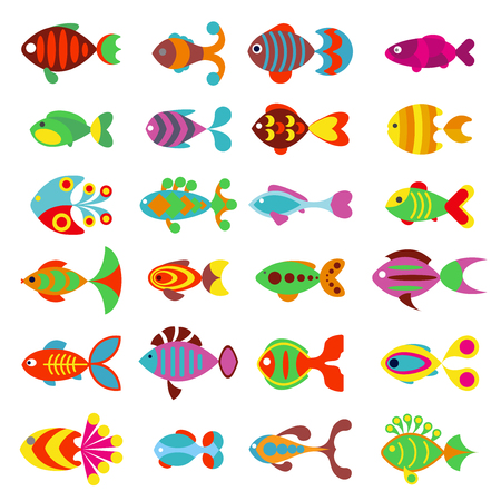 Aquarium flat style fishes icons. Set of fish icons. Sea and aquarium fish isolated on white background. Fish cartoon cute style illustrationのイラスト素材