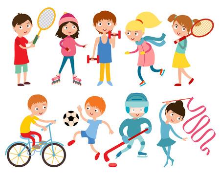 Ilustración de Young kids portsmens isolated on white vector illustration. Children sport. Roller, skates and gymnastics.  Vector kid gym, weights, dumbbells and running, Kids in sport, future winners after sport school - Imagen libre de derechos