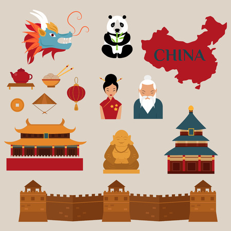 Illustration for Travel to China vector icons illustration. Chinese architecture, Chinese  food and traditional costumes. Travel to China design elements for infographic - Royalty Free Image