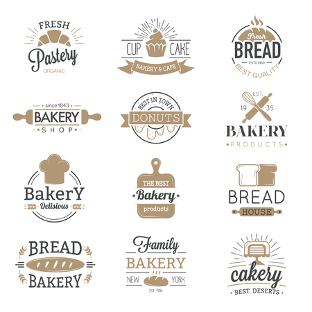Bakery badges and logo icons thin modern style vector collection set. Retro bakery labels, logos and badges icons. Bakery badges design elements isolated on white background