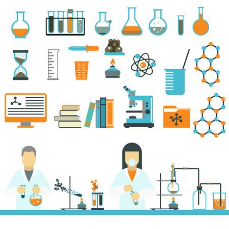 Laboratory symbols test medical and laboratory symbols scientific biology design. Laboratory symbols molecule microscope concept. Biotechnology. Laboratory symbols science and chemistry icons vector.