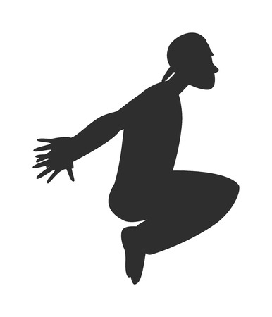 Parkour trick people extreme sport black silhouette vector or city sport parkour trick people pose, parkour flat trick vector people jump, fall tricks.