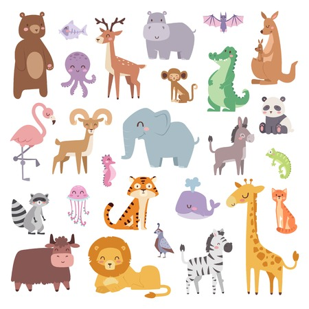 Ilustración de Cartoon animals character and wild cartoon cute animals collections vector. Cartoon zoo animals big set wildlife mammal flat vector illustration. - Imagen libre de derechos
