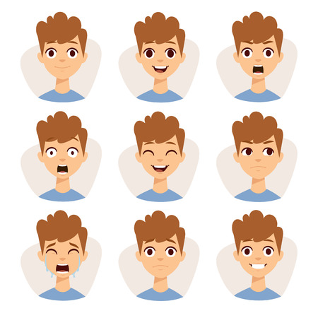 Illustration for Funny boy emotions and cute boy portrait emotions avatars. Illustration featuring boy kids showing different facial expressions emotions cartoon vector. - Royalty Free Image