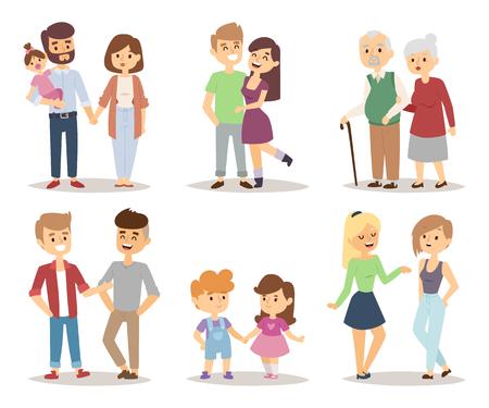 Illustration for People happy couple cartoon and relationship people lifestyle couple cartoon vector. People couple relaxed cartoon vector illustration set. - Royalty Free Image