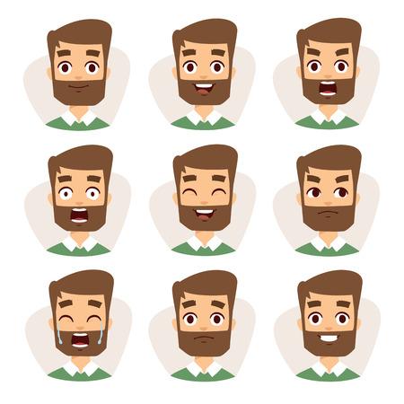 Ilustración de Beard man emotions and avatar beard man characters emotions. Faces vector characters mosaic of young beard man expressing different emotions icons. - Imagen libre de derechos