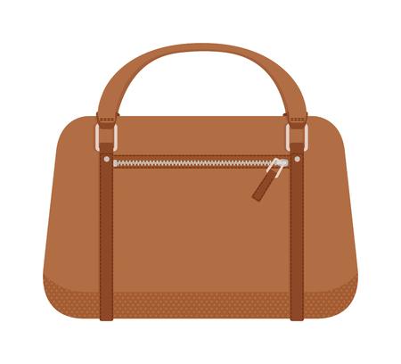 Illustration pour Leather handbag and handbag fashion style. Glamour accessory handbag and elegance modern handbag. Women brown style handbag. Luxury handbag. Terracotta women leather handbag fashion flat vector. - image libre de droit