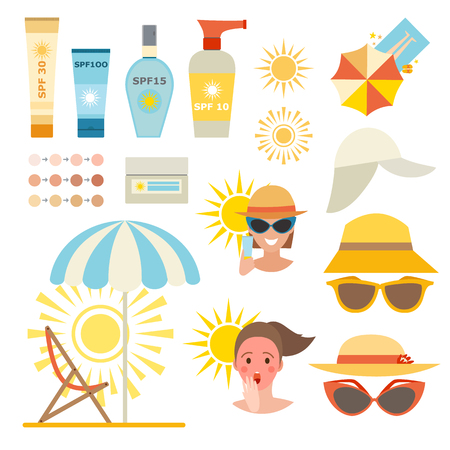 Illustration for Care cream skin protection and beauty skin protection lotion. Skin summer protection, health beach skin protection sunscreen sea vacation. Skin sun protection cancer body prevention infographic vector - Royalty Free Image