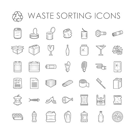 Illustration pour Waste sorting ecology outline icons and waste sorting environment trash outline icons. Waste sorting recycle container. Set of garbage separation recycling related waste sorting outline icons vector. - image libre de droit