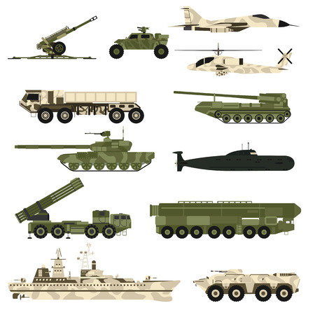 Illustration for Military technic army, war tanks and military industry technic armor tanks set. Military technic and armor tanks, helicopter, hurricane, missile systems, submarine, armored personnel carriers vector. - Royalty Free Image