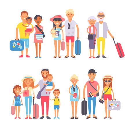 Ilustración de Different people on vacation and vacation people traveling. Vacation people happy family travel together. Traveling family group people on vacation together character flat vector illustration. - Imagen libre de derechos