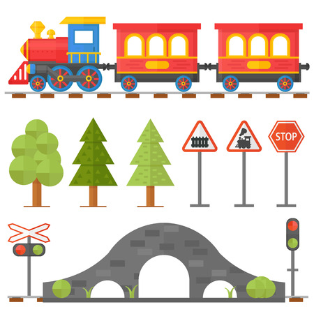 Illustration pour Railroad traffic way and cartoon toy train. Toy train, railroad train transportation. Railway design concept set with train station steward railroad passenger toy train flat icons vector illustration. - image libre de droit
