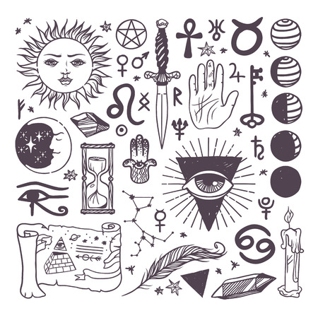 Illustration pour Set of trendy vector esoteric symbols collection sketch hand drawn. Religion, philosophy, spirituality, occultism, chemistry, science, magic esoteric symbols. Design esoteric symbols tattoo element. - image libre de droit