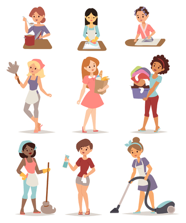 Illustration pour Set of housewife icon homemaker cleaning ironing cook wash and shopping vector illustration. Housewife cleaning lady set and woman housewife set character. Mother housewife work cute cleaning set. - image libre de droit