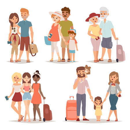 Illustration for Different people on vacation and vacation people traveling. Vacation people happy family travel together. Traveling family group people on vacation together character flat vector illustration. - Royalty Free Image