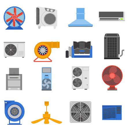 Ilustración de Set of ventilation and conditioning system icon vector illustration. Ventilation technology electric system and  conditioning air fan ventilation. Cooler wind metal vent appliance flow ventilation. - Imagen libre de derechos