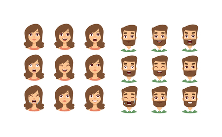 Illustration for Human emotion face expression icons and beauty human emotion face vector. Isolated set of Human emotion face avatar expressions face emotions vector illustration. Human emotion face set. - Royalty Free Image