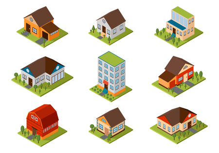 Illustration pour Modern homes and isometric house small to large. Isometric homes architecture real estate. Modern homes and isometric cottage houses. Isometric house property residential isolated building. - image libre de droit