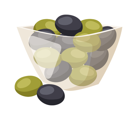 Illustration pour Green and black olives from above plate. Olive in plate vector and green olive in plate food. Olive in plate organic vegetarian healthy fruit and olive in plate cooking appetizer leaf plant branch. - image libre de droit