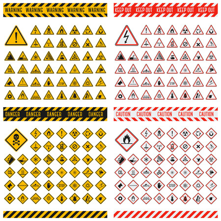 Illustration pour Triangular warning hazard symbols. Big set danger sign vector illustrator. Danger sign safety warning collection and risk caution stop danger sign. Security toxic yellow triangle sign. - image libre de droit