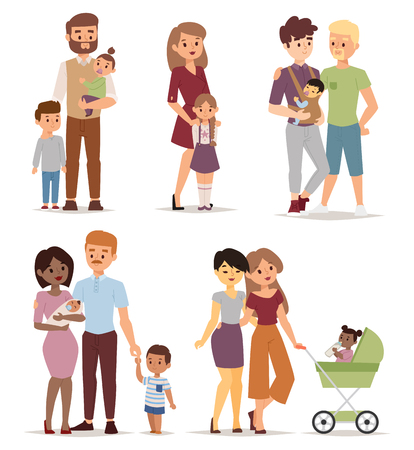 Illustration for Different gay family, different kind of families. Different family special needs children and different family blended couple. Different family lifestyle baby husband kid and friendship parents set. - Royalty Free Image