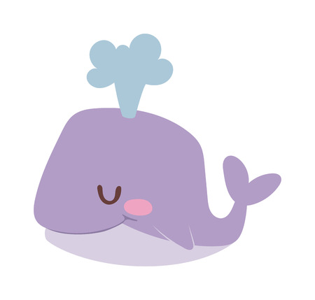 Happy cartoon whale and cute, water cartoon whale animal. Cartoon whale cute happy mammal and cartoon whale underwater marine wildlife animal. Cetacean comic fin tail cheerful fountain mascot.