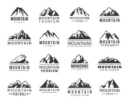 Illustration pour Mountain vector icons set. Set of mountain silhouette elements. Outdoor icon snow ice mountain tops, decorative symbols isolated. - image libre de droit