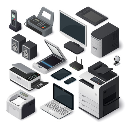 Illustration pour Office equipment isometric printer interior paper furniture style. Set of vector isometric office equipment pen tablet computer industry. Isometric office equipment speakers room digital box symbol. - image libre de droit