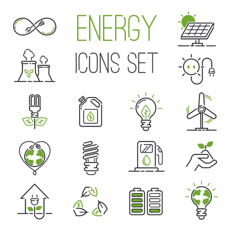 Ilustración de Vector green eco energy icons set. Energy icons power set battery oil environment nature. Nuclear house atom renewable energy icons. Light bulb electricity water nature eco renewable industry. - Imagen libre de derechos