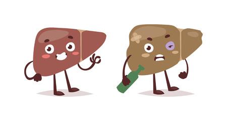 Alcoholic liver harm disease. Fatty liver fibrosis hepatitis cirrhosis of alcohol harm vector illustration. Lifestyle problem unhealthy alcohol harm can cause liver damage social cartoon concept.