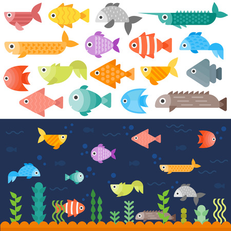 Tropical underwater fishes collection on white background. Colorful aquarium exotic underwater fishes. Coral animal ocean water marine underwater fishes set. Environment landscape diving beauty.
