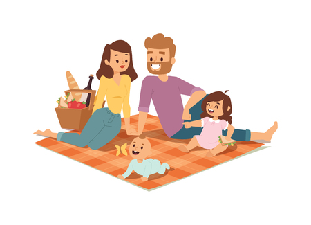 Illustration pour Family picnicking summer happy lifestyle park outdoors together, enjoying meadow vacation character vector. Family picnic vacation and summer family picnic. Happy family picnic resting outdoors. - image libre de droit