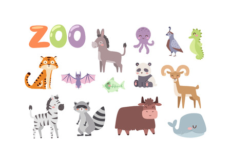 Vector zoo animals. Many different animals panda, sea whale, octopus, buffalo, goat. Donkey, tiger, zebra, bat, fish, raccoon Zoo animal character safari collection and cartoon cute zoo animals