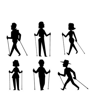 Group of nordic walkers vector character set fun leisure