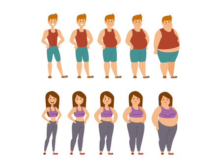 Illustration for Fat woman and man cartoon style different stages vector illustration. Fat problems. Health care. Fast food, sport and fat people. Obesity process people illustration. Fat less concept - Royalty Free Image