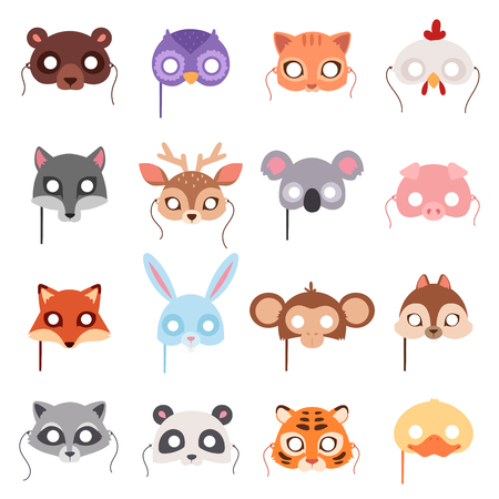 Ilustración de Set of cartoon animals party masks vector. Animal carnival mask vector holiday illustration party fun symbols. Celebration animal carnival mask character head masquerade festival decoration. - Imagen libre de derechos