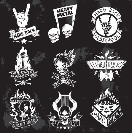 Vintage coal mining emblems, labels, badges. Monochrome style heavy metal rock badges classic band typography hardcore. Heavy Metal music symbol rock badges . Bikers retro rock label.