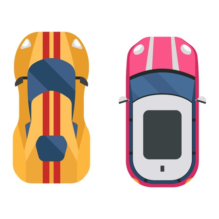 Vector Cars Icon Isolated From Above Car Top View Transportation
