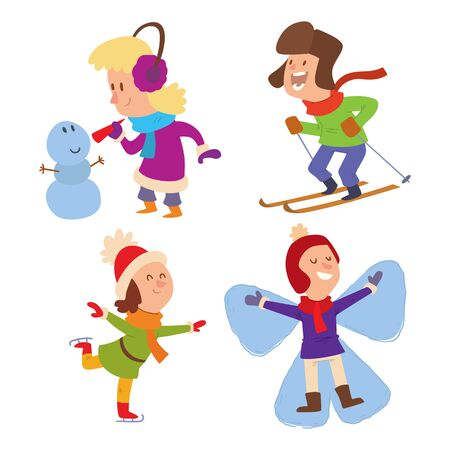 Christmas kids playing winter games. Skating, skiing, girl dresses up Christmas tree, boy makes a snow man. Cartoon New Year winter holidays background.