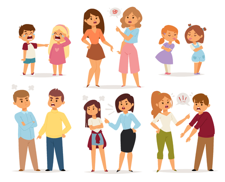 Illustration pour Quarrel collection with arguing people in different situations in flat style - image libre de droit