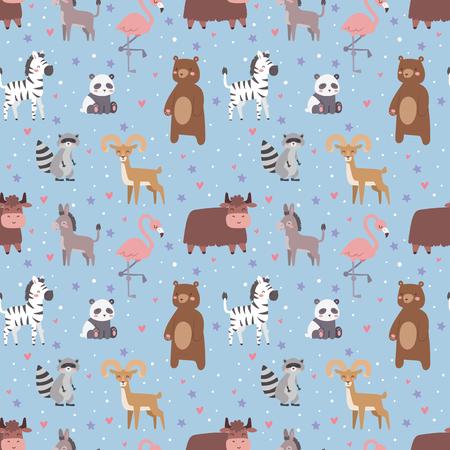 Animals cartoon wildlife nature seamless pattern jungle texture bird colorful retro wallpaper vector illustration. Zoo cute funny design hippopotamus print textile.