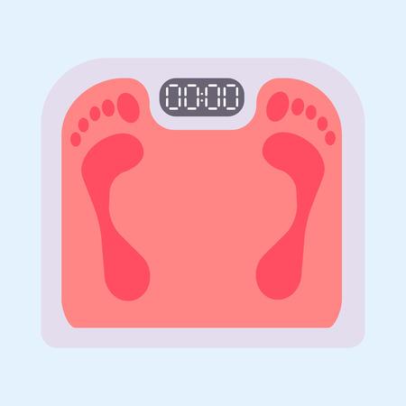 Ilustración de Weight scale equipment with footprint. - Imagen libre de derechos