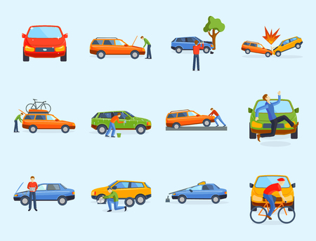 Illustration pour Car crash collision traffic insurance safety automobile emergency disaster and emergency disaster speed repair transport vector illustration. Auto accident involving broken transportation. - image libre de droit