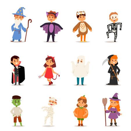 Illustration pour Cute kids wearing Halloween party costumes vector. - image libre de droit