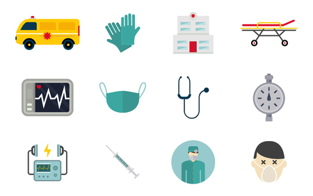 Ilustración de Ambulance icons vector set. Medicine health emergency hospital symbol. Urgent pharmacy pill support paramedic treatment clinic vehicle design. - Imagen libre de derechos