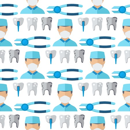 Doctors dentist profession charactsers seamless pattern background stomatology vector medical people