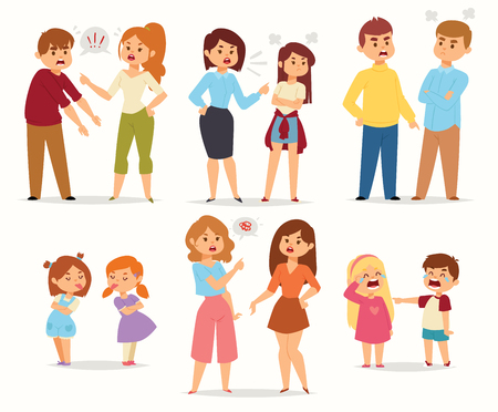 Illustration for Quarrel conflict stress couples character vector people with arguing quarrel screaming people in different situations in flat style and illustration. - Royalty Free Image