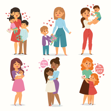 Illustration pour Mother and children kids with flower bouquet love heart couples. Mothers, Valentine or Womans 8 march day. Spring or summer family holiday beautiful female character Mothers Day celebration present - image libre de droit