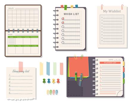 Illustration pour Agenda list vector business paper clipboard in flat style self-adhesive checklist notes schedule calendar planner organizer article illustration. - image libre de droit
