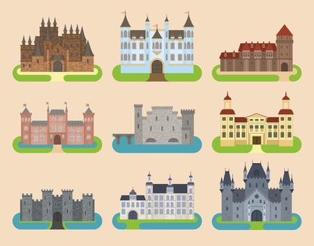 Illustration pour Cartoon old vector castle tower icon flat architecture illustration fantasy house fairytale medieval castle kingstone castleworld cartoon stronghold design fable isolated - image libre de droit